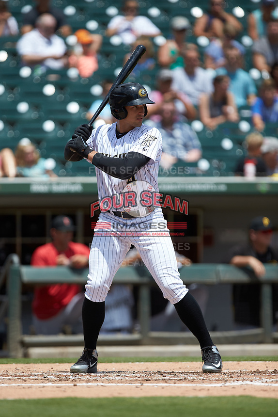 Trayce Thompson (4) of the Charlotte Knights at bat against the Indianapolis Indians at BB&T BallPark on August 22, 2018 in Charlotte, North Carolina.  The Indians defeated the Knights 6-4 in 11 innings.  (Brian Westerholt/Four Seam Images)