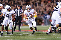 College Park, MD - SEPT 27, 2019: Penn State Nittany Lions quarterback Sean Clifford (14) breaks out of the pocket during game between Maryland and Penn State at Capital One Field at Maryland Stadium in College Park, MD. The Nittany Lions beat the Terps 50-0. (Photo by Phil Peters/Media Images International)
