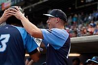 Trenton Thunder center fielder Jeff Hendrix (17) congratulates Danienger Perez (3) after he hit a home run in the top of the fourth inning during a game against the Hartford Yard Goats on August 26, 2018 at Dunkin' Donuts Park in Hartford, Connecticut.  Trenton defeated Hartford 8-3.  (Mike Janes/Four Seam Images)