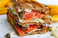 Smoked salmon cream cheese salad sandwich hotel resort food photos