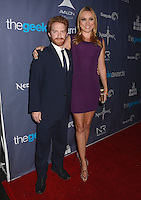 Seth Green, Clare Grant<br /> The first annual Geekie Awards at The Avalon Hollywood in Hollywood, CA., USA.  <br /> August 18th, 2013<br /> full length beard facial hair black suit purple dress tall short married husband wife <br /> CAP/ADM/BT<br /> &copy;Birdie Thompson/AdMedia/Capital Pictures