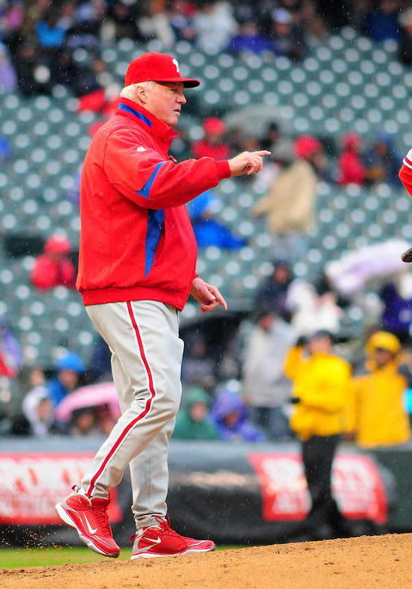 April 12, 2009: Phillies manager and 2009 National League Manager of the Year candidate Charlie Manuel during a game between the Philadelphia Phillies and the Colorado Rockies at Coors Field in Denver, Colorado. The Phillies beat the Rockies 7-5.