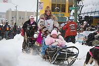 DeeDee Jonrowe leaves the 2011 Iditarod ceremonial start line in downtown Anchorage, during the 2012 Iditarod..Jim R. Kohl/Iditarodphotos.com