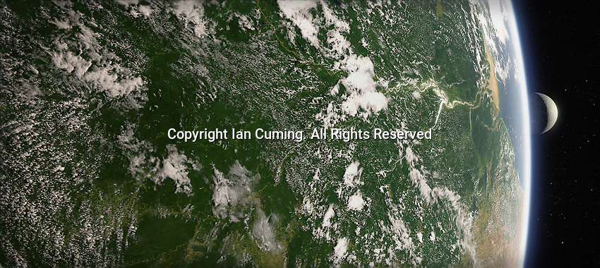Digitally manipulated image of the Amazon Basin from space