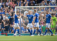 Flynn Downes of Ipswich Town congratulates Luke Garbutt of Ipswich Town on his opening goal during Ipswich Town vs Sunderland AFC, Sky Bet EFL League 1 Football at Portman Road on 10th August 2019