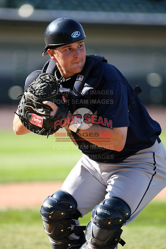 June 20th 2008:  Catcher Zach Booker of the Mahoning Valley Scrappers, Class-A affiliate of the Cleveland Indians, during a game at Frontier Field in Rochester, NY - home of the Rochester Red Wings.  Photo by:  Mike Janes/Four Seam Images