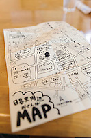"A hand drawn map for tourists, Yanaka, Tokyo, Japan, April 19, 2012. Yanaka is part of Tokyo's ""shitamachi"" historic working class wards. Recently it has become popular with Japanese and foreign tourists for its many temples, shops, restaurants and relaxed atmosphere."