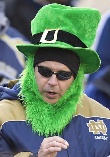 November 03, 2012:  Notre Dame fan during NCAA Football game action between the Notre Dame Fighting Irish and the Pittsburgh Panthers at Notre Dame Stadium in South Bend, Indiana.  Notre Dame defeated Pittsburgh 29-26 in three overtimes.