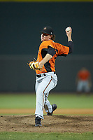 Frederick Keys relief pitcher Steven Klimek (27) in action against the plate against the Winston-Salem Dash at BB&T Ballpark on July 26, 2018 in Winston-Salem, North Carolina. The Keys defeated the Dash 6-1. (Brian Westerholt/Four Seam Images)