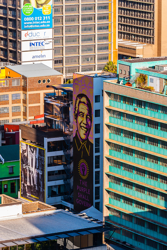 Nelson Mandela mural, Central Business District, Johannesburg, South Africa.