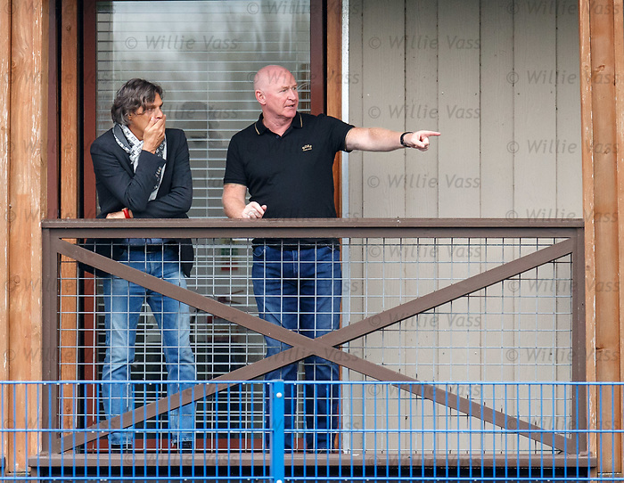 24.09.2019 Rangers training: Ex-Rangers striker Marco Negri watching training with John Brown