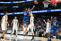 WASHINGTON, DC - FEBRUARY 05: Myles Powell #13 of Seton Hall shoots over Omer Yurtseven #44 of Georgetown during a game between Seton Hall and Georgetown at Capital One Arena on February 05, 2020 in Washington, DC.
