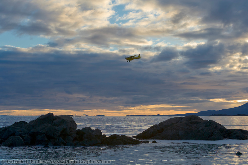 Spotter airplane for the 2006 Herring Sac Roe fishery approaches landing at the sitka airport.