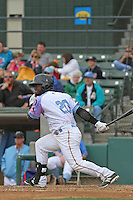 Myrtle Beach Pelicans outfielder Odubel Herrera #20 at bat during a game against the Salem Red Sox at Ticketreturn.com Field at Pelicans Ballpark on April 6, 2014 in Myrtle Beach, South Carolina. Salem defeated Myrtle Beach 3-0. (Robert Gurganus/Four Seam Images)