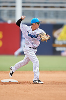 Tampa Tarpons second baseman Hoy Jun Park (1) turns a double play during a game against the Lakeland Flying Tigers on April 8, 2018 at George M. Steinbrenner Field in Tampa, Florida.  Lakeland defeated Tampa 3-1.  (Mike Janes/Four Seam Images)