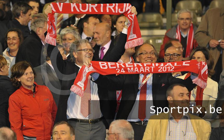 Bekerfinale KV Kortrijk - Sporting Lokeren : burgemeester Stefaan De Clerck en Voorzitter Joseph Allijns in de tribune.foto VDB  / Bart Vandenbroucke