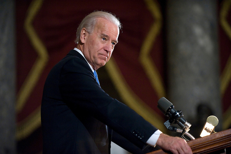 Vice President Joe Biden addresses a memorial service in Statuary Hall for the late Congressman John Murtha, D-Pa., Mar. 3, 2010.