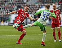17.02.2018, Football 1. Bundesliga 2017/2018, 23.  match day, VfL Wolfsburg - FC Bayern Muenchen, in Volkswagen Arena Wolfsburg.  Niklas Suele (Bayern Muenchen)  -  Gian-Luca Itter (Wolfsburg) , Arjen Robben (Bayern Muenchen)  *** Local Caption *** © pixathlon<br /> <br /> Contact: +49-40-22 63 02 60 , info@pixathlon.de