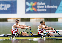 Lucerne, SWITZERLAND<br /> <br /> DEN LM2X. Bow. Mads RASMUSSEN and Ramus QUIST, 2016 European Olympic Qualifying Regatta, Lake Rotsee.<br /> <br /> Monday  23/05/2016<br /> <br /> [Mandatory Credit; Peter SPURRIER/Intersport-images]