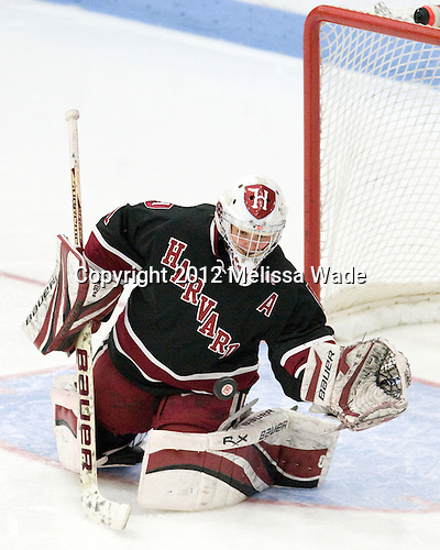Laura Bellamy (Harvard - 1) - The Boston University Terriers defeated the Harvard University Crimson 5-2 on Monday, January 31, 2012, in the opening round of the 2012 Women's Beanpot at Walter Brown Arena in Boston, Massachusetts.