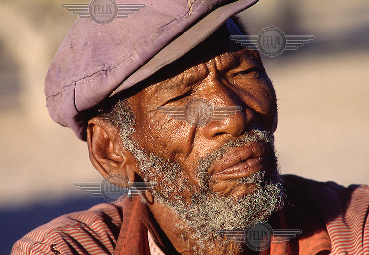 Chief Seqo Ganako before the entire San population were removed, between 1997 and 2002, to a new location outside the Central Kalahari Game Reserve.