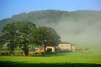 Mist and farm house, Whitewell, Lancashire....Copyright..John Eveson, Dinkling Green Farm, Whitewell, Clitheroe, Lancashire. BB7 3BN.01995 61280. 07973 482705.j.r.eveson@btinternet.com.www.johneveson.com