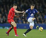 Steven Gerrard of Liverpool challenges Muhamed Besic of Everton - Barclays Premier League - Everton vs Liverpool - Goodison Park Stadium  - Liverpool - England - 7th February 2015 - Picture Simon Bellis/Sportimage