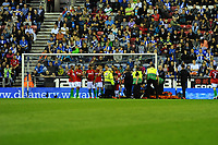 Tuesday, 7 May 2013<br /><br />Pictured: Michel Vorm of Swansea City lies injured<br />Re: Barclays Premier League Wigan Athletic v Swansea City FC  at the DW Stadium, Wigan
