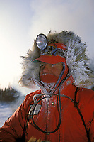 1992 Iditarod Musher Terry Adkins in Ophir Chkpt IN AK in -50 degrees