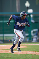 Atlanta Braves Isranel Wilson (12) during an instructional league game against the Toronto Blue Jays on September 30, 2015 at the ESPN Wide World of Sports Complex in Orlando, Florida.  (Mike Janes/Four Seam Images)