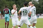 29.07.2017, Fritz Detmar Stadion, Lohne, GER, FSP SV Werder Bremen (GER) vs WestHam United (ENG), <br /> <br /> im Bild<br /> Jubel nach dem 1 zu 0 durch Luca Caldirola (Werder Bremen #3) mit Florian Kainz (Werder Bremen #7) Yuning Zhang (Neuzugang SV Werder Bremen #19)<br /> <br /> Foto © nordphoto / Kokenge