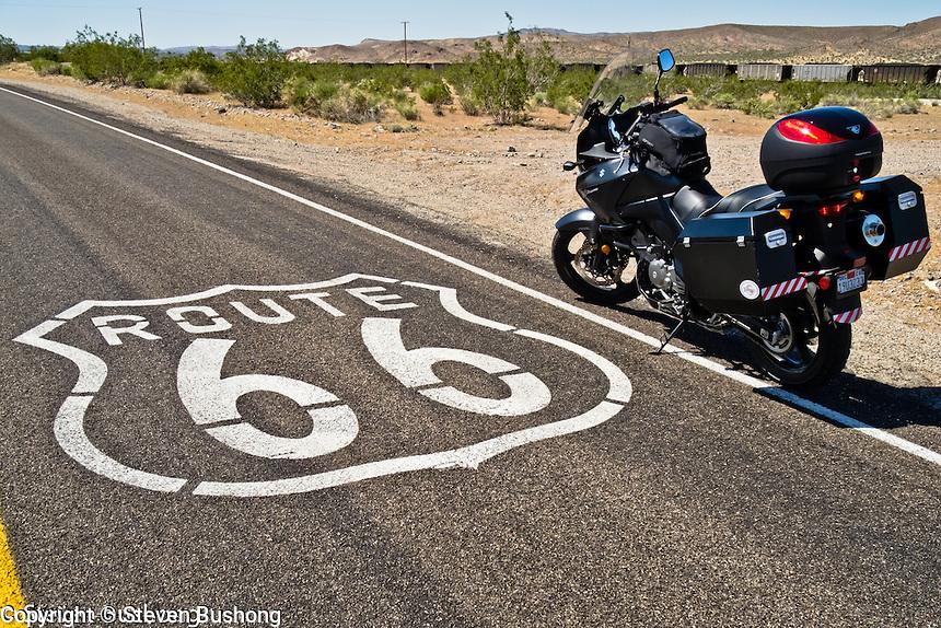 Motorcycle road images taken between Los Angeles and Las Vegas.  Route 66, Mojave Desert, Death Valley