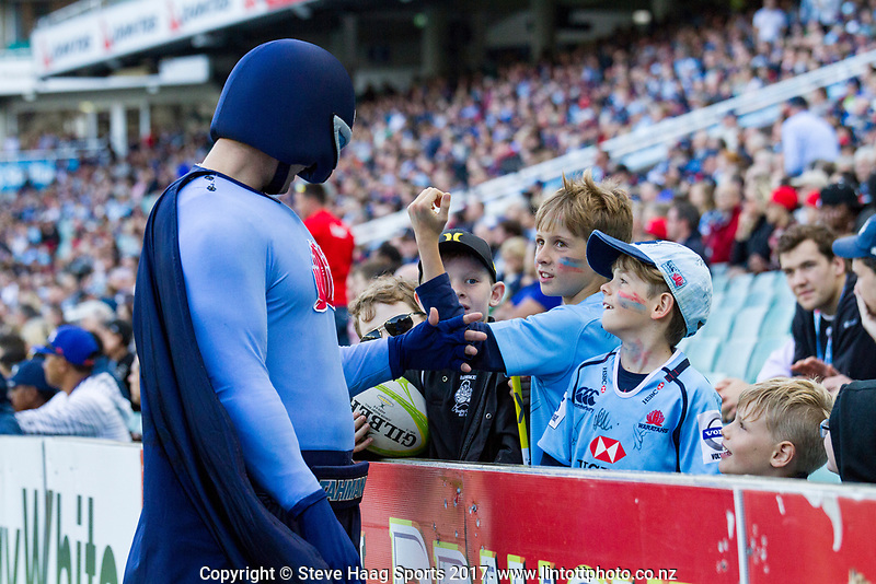 The Waratahs Tag Man wants to see some strength from the Waratahs fans during the super rugby match between Waratahs and Crusaders Allianz Stadium 2 April 2017(Photo by Mario Facchini -Steve Haag Sports)
