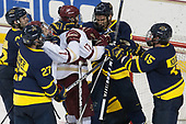 Mathieu Tibbet (Merrimack - 22), Patrick Kramer (Merrimack - 27), Colin White (BC - 18), David Cotton (BC - 17), Johnathan Kovacevic (Merrimack - 8), Jared Kolquist (Merrimack - 15) - The visiting Merrimack College Warriors defeated the Boston College Eagles 6 - 3 (EN) on Friday, February 10, 2017, at Kelley Rink in Conte Forum in Chestnut Hill, Massachusetts.