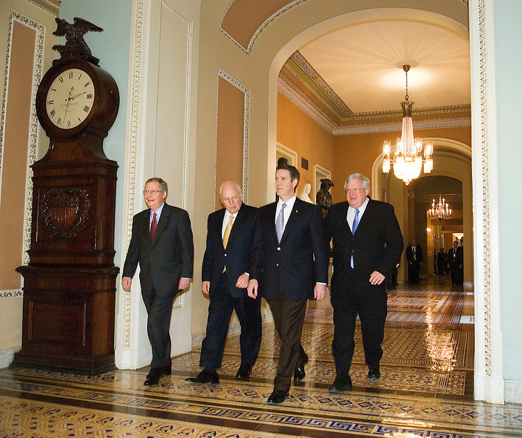 12/07/06--Senate Majority Whip Mitch McConnell, R-Ky., Vice President Dick Cheney, Senate Majority Leader Bill Frist, R-Tenn., and House Speaker J. Dennis Hastert, R-Ill., walk to the Senate chamber for Frist's farewell address to the Senate. He is retiring from the Senate after two terms to keep a campaign promise to limit his tenure. Republican Bob Corker was elected Nov. 7 in Tennessee to replace Frist. Congressional Quarterly Photo by Scott J. Ferrell