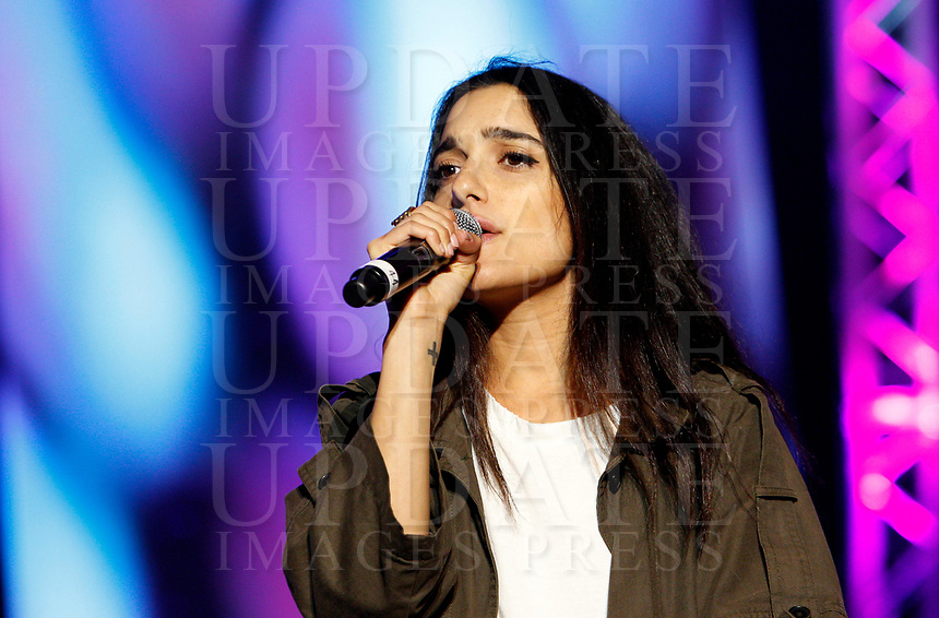 La cantautrice Levante sul palco del concerto del Primo Maggio promosso da Cgil, Cisl e Uil in occasione della Festa del Lavoro, in piazza San Giovanni a Roma, 1 maggio 2017.<br /> Italian singer and songwriter Levante performs on stage during the May Day free concert on the occasion of the International Workers' Day, in St. John Lateran's Square, Rome, May 1, 2017.<br /> UPDATE IMAGES PRESS/Riccardo De Luca