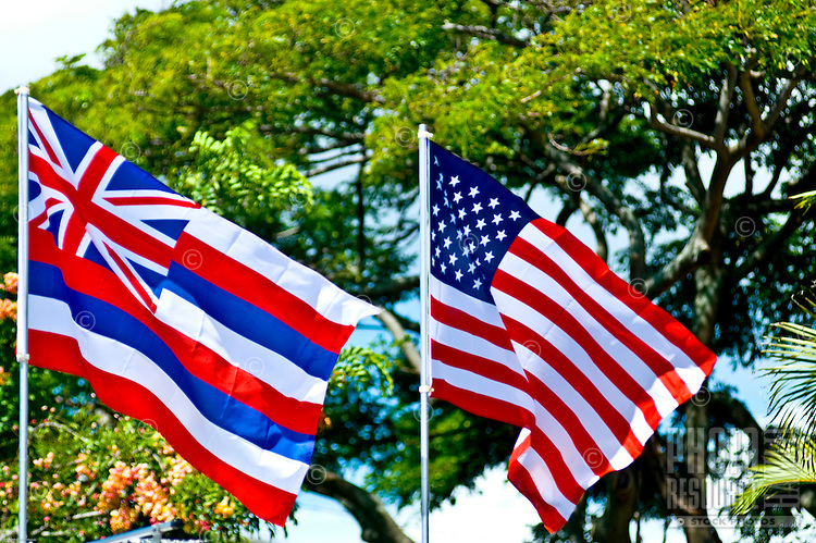 The Hawaiian and American flags