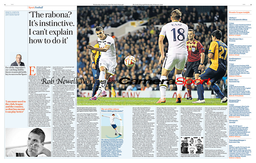 Daily Telegraph 13-Jan-2016 - 'The rabona? It's instinctive. I can't explain how to do it' - Photo by Rob Newell (Digital South)