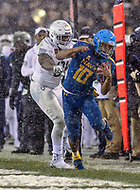 Philadelphia, PA - December 9, 2017:    Navy Midshipmen running back Malcolm Perry (10) gets pushed out of bounds during the 118th game between Army vs Navy at Lincoln Financial Field in Philadelphia, PA. (Photo by Elliott Brown/Media Images International)