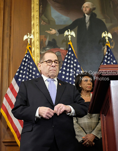 United States Representative Jerrold Nadler (Democrat of New York), United States Representative Maxine Waters (Democrat of California), and United States Representative Maxine Waters (Democrat of California), listen during a news conference laying out articles of impeachment for President Donald J. Trump, on Capitol Hill in Washington, DC on Tuesday, December 10, 2019. Credit: Alex Wroblewski / CNP
