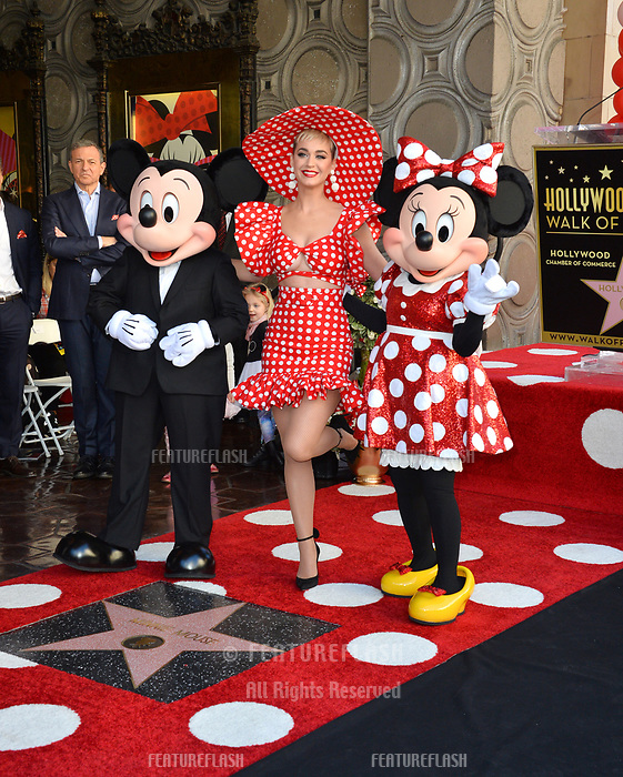 Mickey Mouse, Katy Perry &amp; Minnie Mouse at the Hollywood Walk of Fame Star Ceremony honoring Disney character Minnie Mouse, Los Angeles, USA 22 Jan. 2018<br /> Picture: Paul Smith/Featureflash/SilverHub 0208 004 5359 sales@silverhubmedia.com