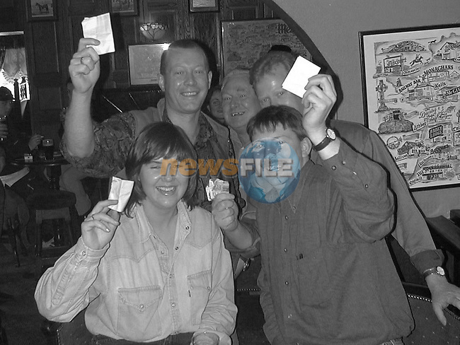 Grainne Dollard, Martin Nolan, Colm Donnelly, Declan Nolan and John Rothwell in Ryan's Bar in Ratoath collecting there winnings.Pic Fran Caffrey / Newsfile