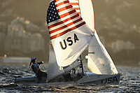 RIO DE JANEIRO, BRAZIL - AUGUST 12:  Jo Annie Haeger of the United States and Briana Provancha of the United States compete in the Women's 470 class on Day 7 of the Rio 2016 Olympic Games at Marina da Gloria on August 12, 2016 in Rio de Janeiro, Brazil.  (Photo by Paul Gilham/Getty Images)