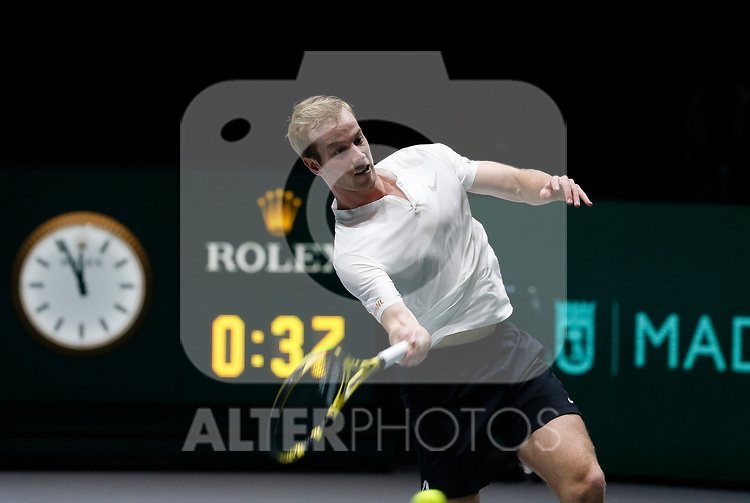 Botic Van de Zandschulp of Netherlands plays a forehand against Botic Van de Zandschulp of Netherlands during Day 2 of the 2019 Davis Cup at La Caja Magica on November 19, 2019 in Madrid, Spain. (ALTERPHOTOS/Manu R.B.)