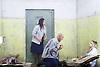 Lady Macbeth of Mtsensk<br /> by Dmitri Shostakovich <br /> English National Opera, London Coliseum, London, Great Britain <br /> rehearsal <br /> 24th September 2015 <br /> <br /> Patricia Racette as Katerina Lvovna Ismailova <br /> <br /> <br /> John Daszak as Sergei <br /> <br /> <br /> <br /> <br /> Rosie Aldridge as feamle convict <br /> <br /> <br /> <br /> <br /> Photograph by Elliott Franks <br /> <br /> Image licensed to Elliott Franks Photography Services