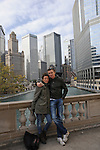 Denis Brogniart, host of French Survivor television show, and his wife Hortense on Michigan Avenue a day ahead of the Chicago Marathon by the Chicago River in Chicago, Illinois on October 10, 2009.