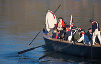 Revolutionary War Reenactors, George Washington & the Continental Army crossing the Delaware River on Christmas Day,.Washington Crossing State Park, New Jersey