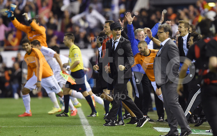 FUSSBALL  INTERNATIONAL Copa del Rey FINALE  2013/2014    FC Barcelona - Real Madrid            16.04.2014 SCHLUSSJUBEL Real Madrid; Cristiano Ronaldo (Mitte)