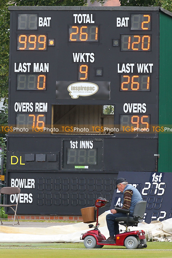 The scoreboard displays an unusual score of 999 for one of the batsmen - Derbyshire CCC vs Essex CCC - LV County Championship Division Two Cricket at Queen's Park, Chesterfield - 09/07/14 - MANDATORY CREDIT: Gavin Ellis/TGSPHOTO - Self billing applies where appropriate - 0845 094 6026 - contact@tgsphoto.co.uk - NO UNPAID USE