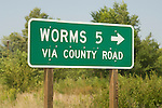 Highway sign for Worms, 5 miles along US 281